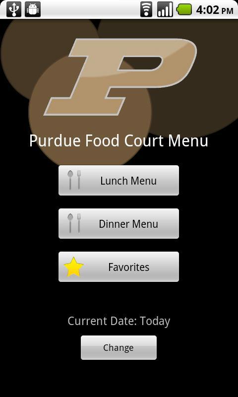 Purdue Food Court Menu- screenshot