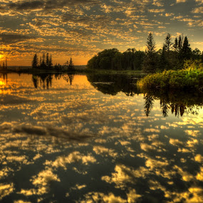 Calm cloud refflection by David Johnson - Landscapes Sunsets & Sunrises ( clouds, reflection, sunset, lake, landscape )