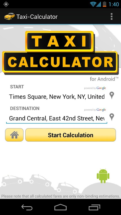 Taxi-Calculator - screenshot