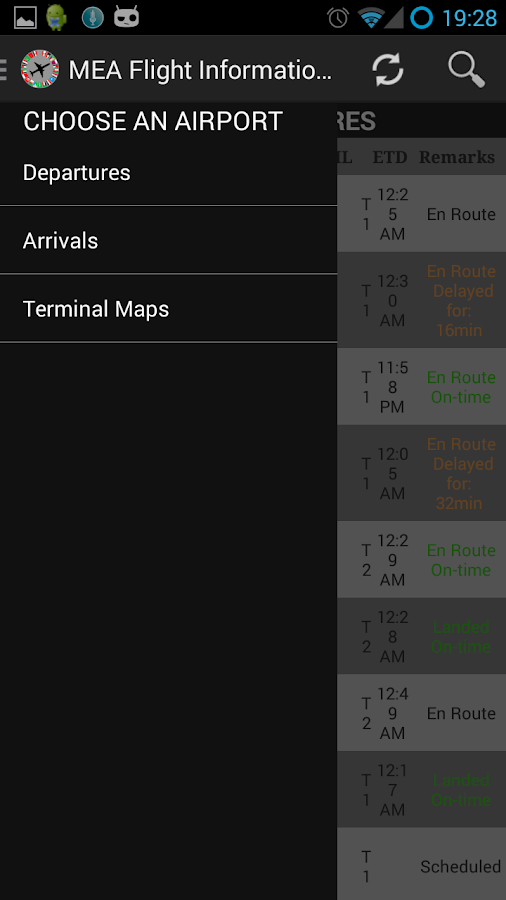 MEA Flight Information English - screenshot