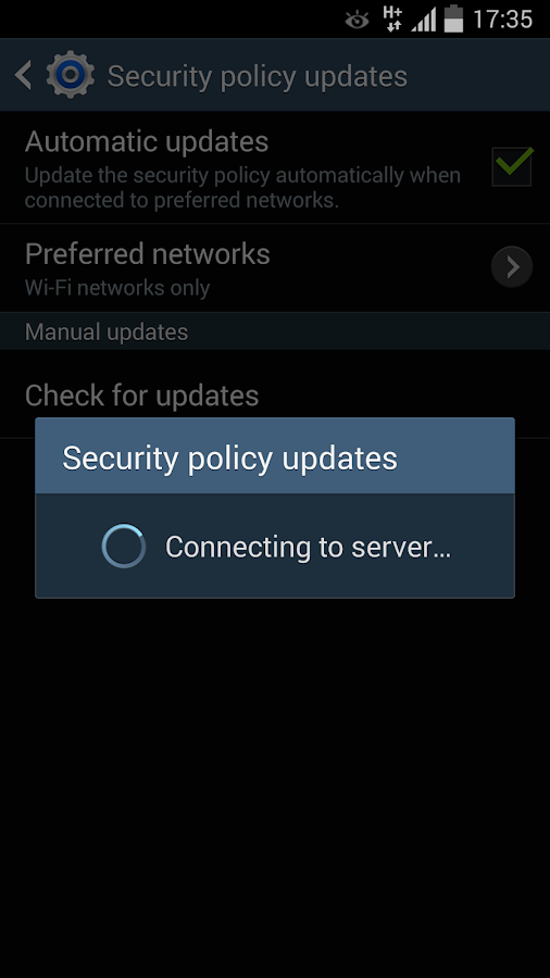 Samsung Security Policy Update – Screenshot