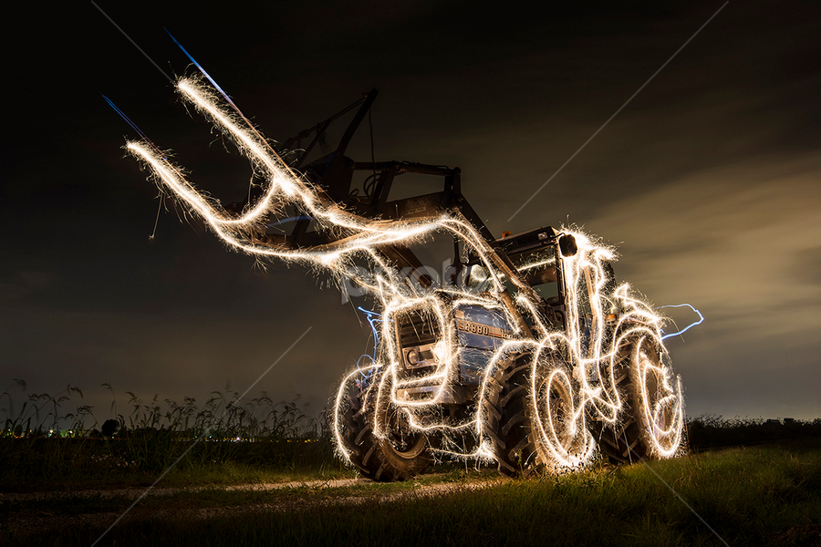 Tractor on fire by Alberto Ghizzi Panizza - Transportation Other ( tracotor, night, light, fire, flame )