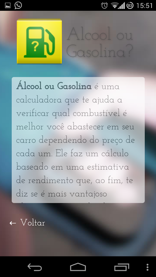 Alcool ou Gasolina?- screenshot