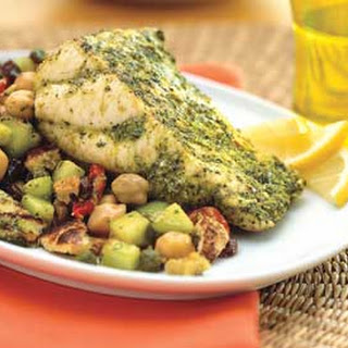 Marinated Sturgeon with Moroccan Chickpea Salad.