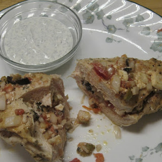 Greek Stuffed Chicken Breasts with Sour Cream Tzatziki Sauce.