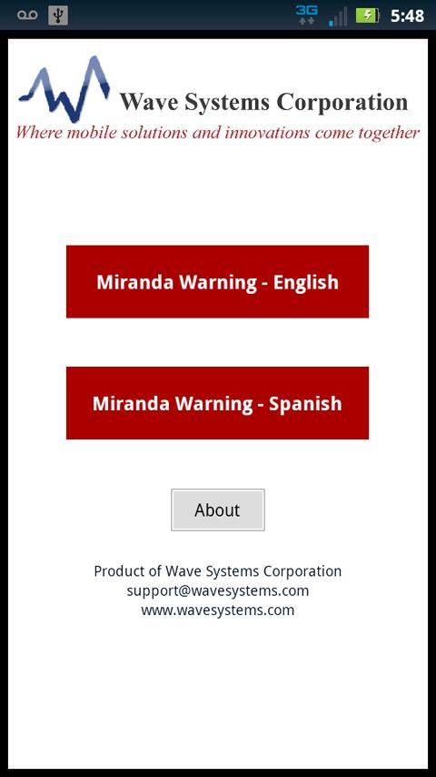 Miranda Warnings / Rights - screenshot