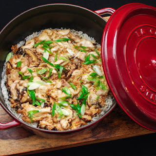 Clay Pot Rice With Spicy Sausage and Mushrooms.
