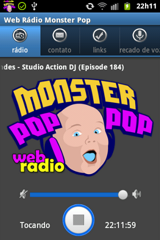 Web Rádio Monster Pop: captura de tela