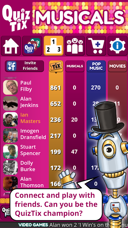 QuizTix Musicals Quiz Broadway Theatre Trivia Game- screenshot