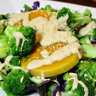 Broccoli And Squash Salad With Tahini Dressing.