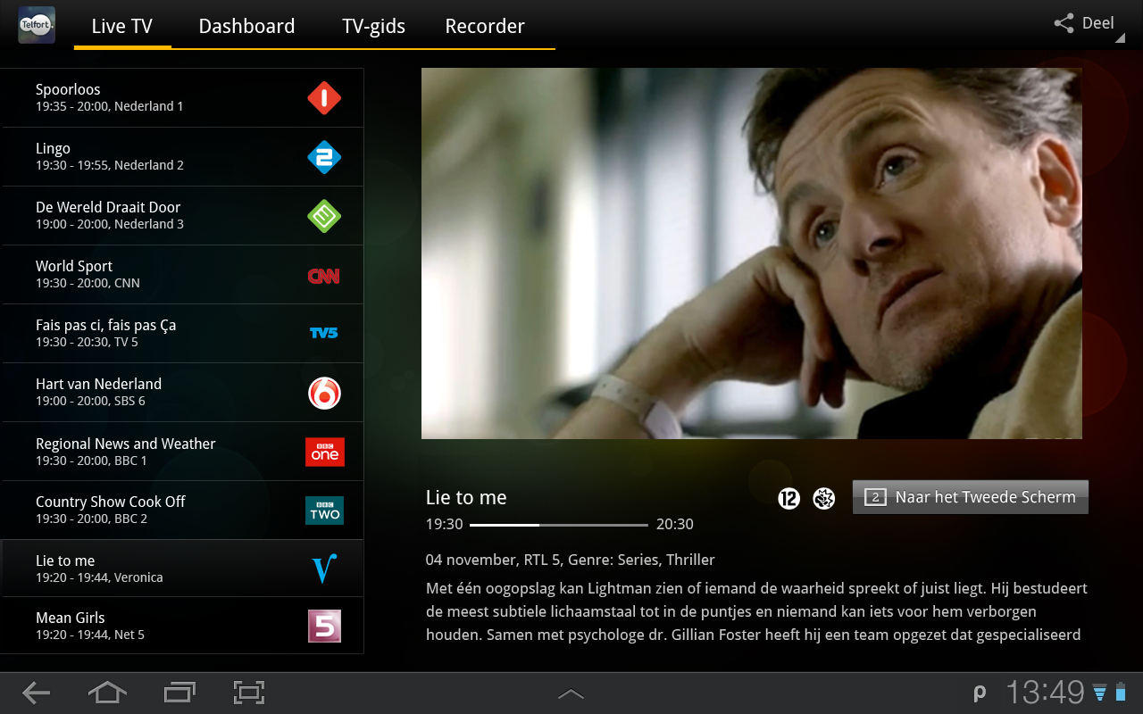 Telfort Glasvezel TV - screenshot