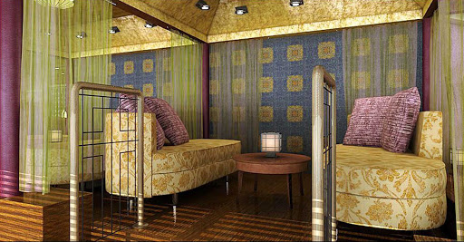 Holland-America-Signature-Class-Silk-Den - Head to the Silk Den on your Eurodam cruise for a private, stylish curtained alcove. This modern Asian-influenced decor is by Finland-based architects Yran and Storbraaten.