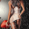 Girl Under Rain Live Wallpaper icon