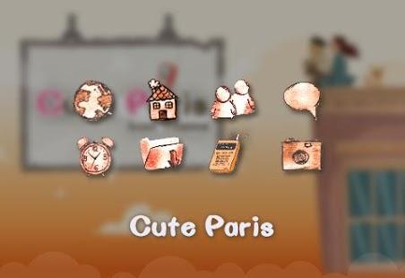 Cute Paris Comic Theme: Cartoon Paris launcher - náhled