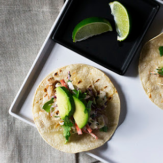 Fish Tacos with Sriracha Aioli Slaw.