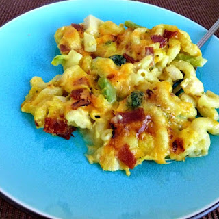 Chicken and Broccoli Mac and Cheese with Bacon.