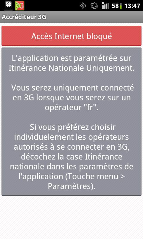 Accréditeur 3G (FreeMobile)- screenshot