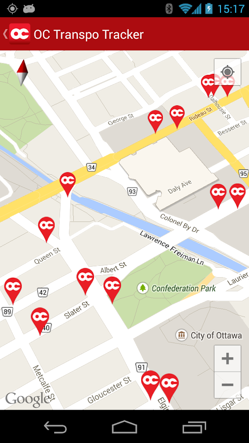 OC Transpo Tracker- screenshot