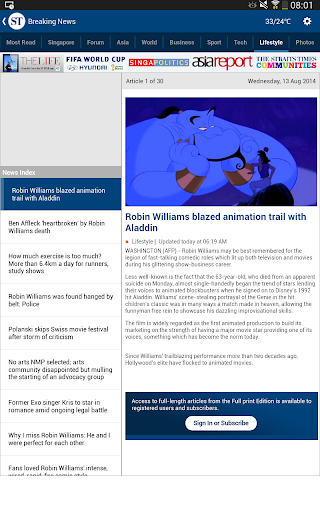 The Straits Times for Tablet