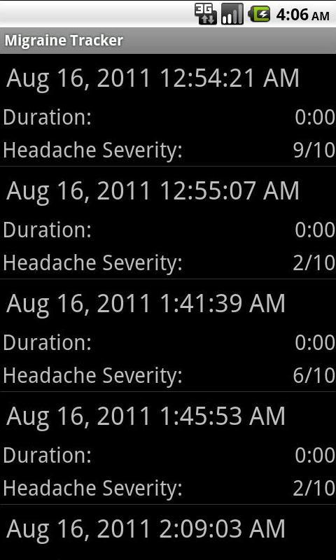 Migraine Tracker- screenshot
