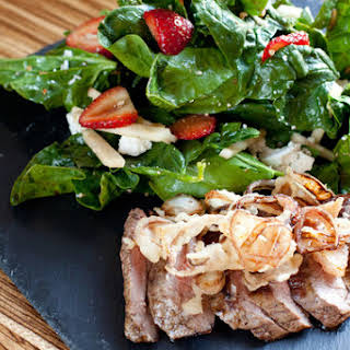 Flank Steak & Frizzled Shallots with Spinach-Strawberry Salad.