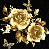 Gold Flowers With Butterfly Li