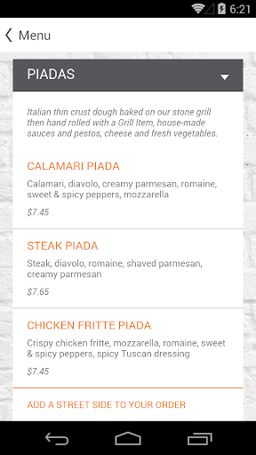 玩免費遊戲APP|下載Piada Italian Street Food app不用錢|硬是要APP