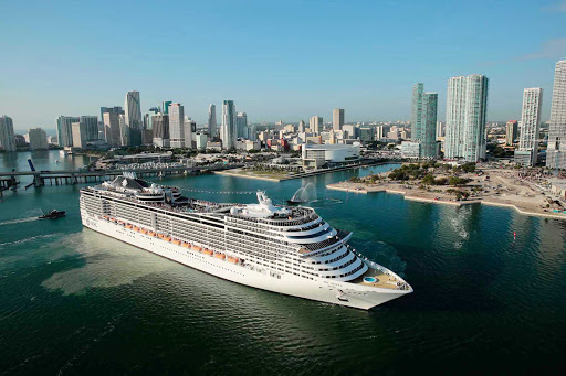 MSC-Divina-in-Miami-2 - Enjoy a memorable vacation aboard the impressive MSC Divina, shown here against the Miami skyline.
