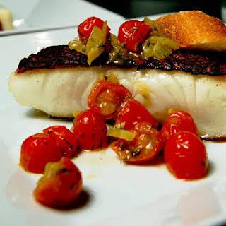 Chilean Sea Bass w/ Grape Tomato Salsa.