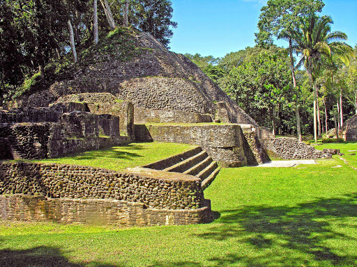 Mayan ruins at Xunantunich, about 80 miles west of Belize City. This site features a 130-foot-tall pyramid.