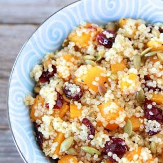 Quinoa Salad with Butternut Squash, Dried Cranberries & Pepitas.