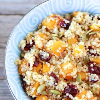 Quinoa Salad with Butternut Squash, Dried Cranberries & Pepitas.
