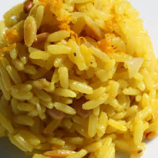 Saffron and Orange Rice Pilaf with Orzo and Pine Nuts.