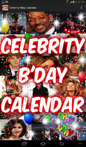 Celebrity Birthday Calendar