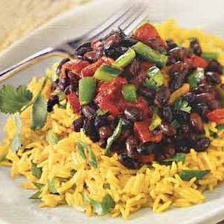 Yellow Rice Salad with Roasted Peppers and Spicy Black Beans