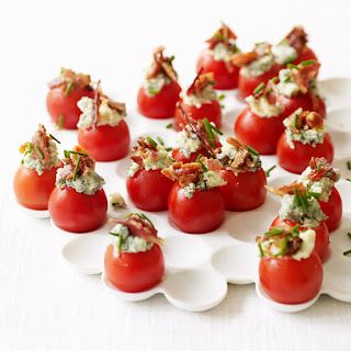 Cherry Tomatoes Stuffed with Blue Cheese and Bacon