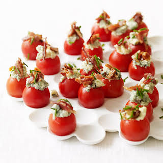 Cherry Tomatoes Stuffed with Blue Cheese and Bacon.