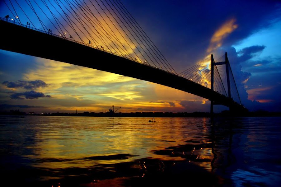 Diamonds in the golden water. When this picture was gifted to me, I remembered what my father said to me once'  by Abhijit Roy - Landscapes Sunsets & Sunrises