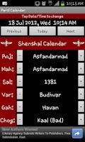 Screenshot of Parsi Calendar