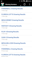 Screenshot of Lottery Results: Florida