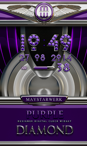 Digi Clock Widget Purle Diamon