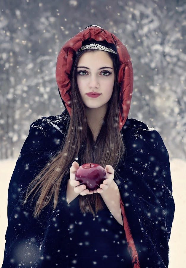 Snow White by Darya Morreale - People Portraits of Women ( winter, apple, snow, beautiful girl, snow white,  )