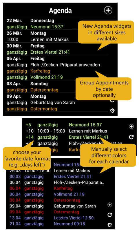 Calendar Widget+Status FREE- screenshot