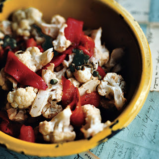 Roasted Red Peppers and Cauliflower with Caper Vinaigrette