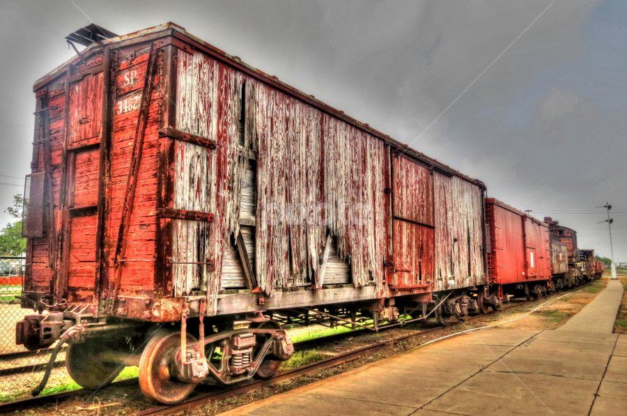 Dilapidated Boxcar by Nancy Tharp - Transportation Trains