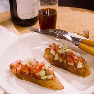 Bruschetta with Tomatoes, Cucumbers, and Basil