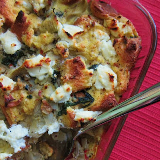 Artichoke, Spinach and Goat Cheese Strata