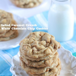 Salted Caramel Crunch White Chocolate Chip Cookies.