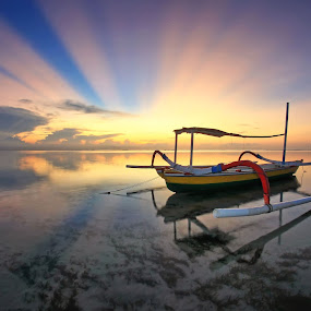 Sunrise Rock n Roll by Arya Satriawan - Landscapes Sunsets & Sunrises ( water, roll, sky, color, waterscape, national geographic, transportation, beach, sunrise, landscape, boat )