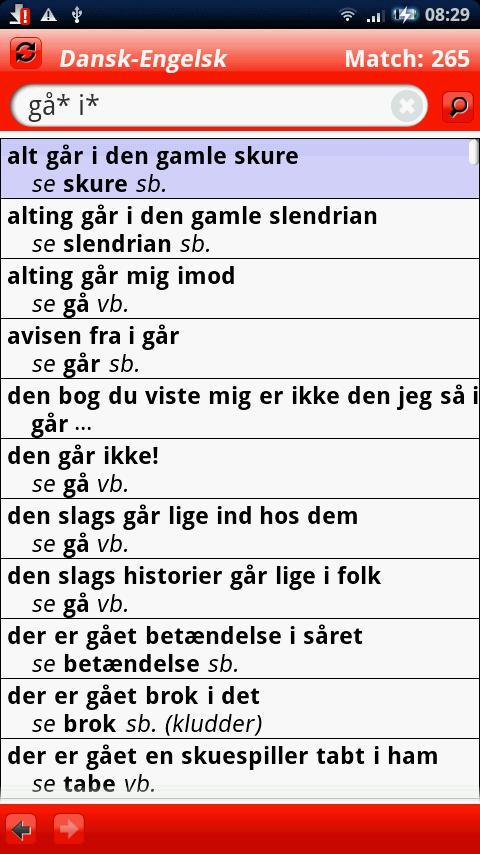 Engelsk Large ordbog - screenshot